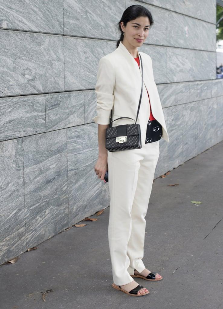 The white suit felt modern and fresh on Caroline Issa.