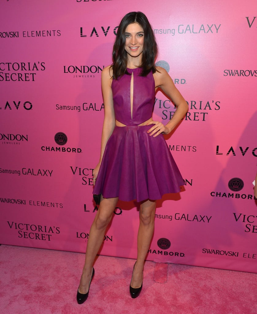 Jacquelyn Jablonski stepped out in a flirty leather cutout fit-and-flare dress and completed the look with classic pumps.
