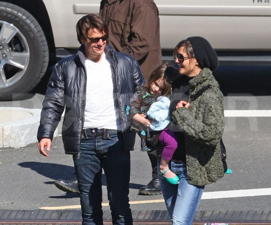 Slide Photo of Tom Cruise with Katie Holmes and Suri Cruise on Set of Wichita