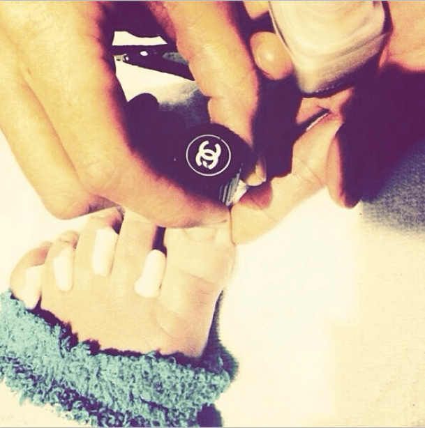 Miley Cyrus gave us a close-up of her Chanel pedicure. Source: Instagram user mileycyrus