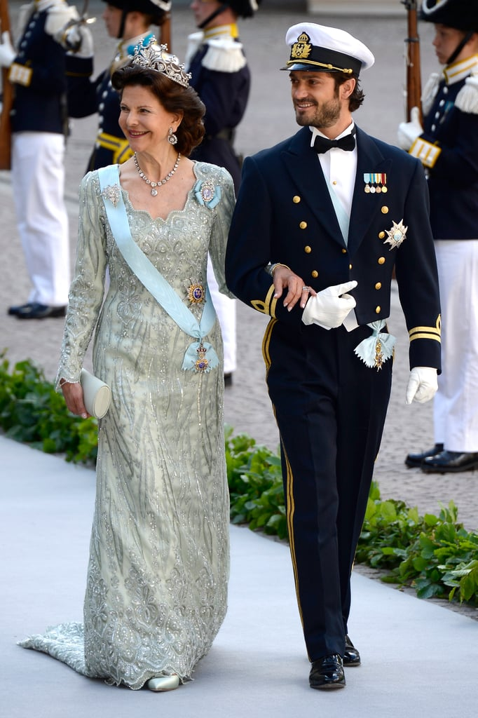 Princess Madeleine's brother Prince Carl Philip and Queen Silvia arrived for the festivities.
