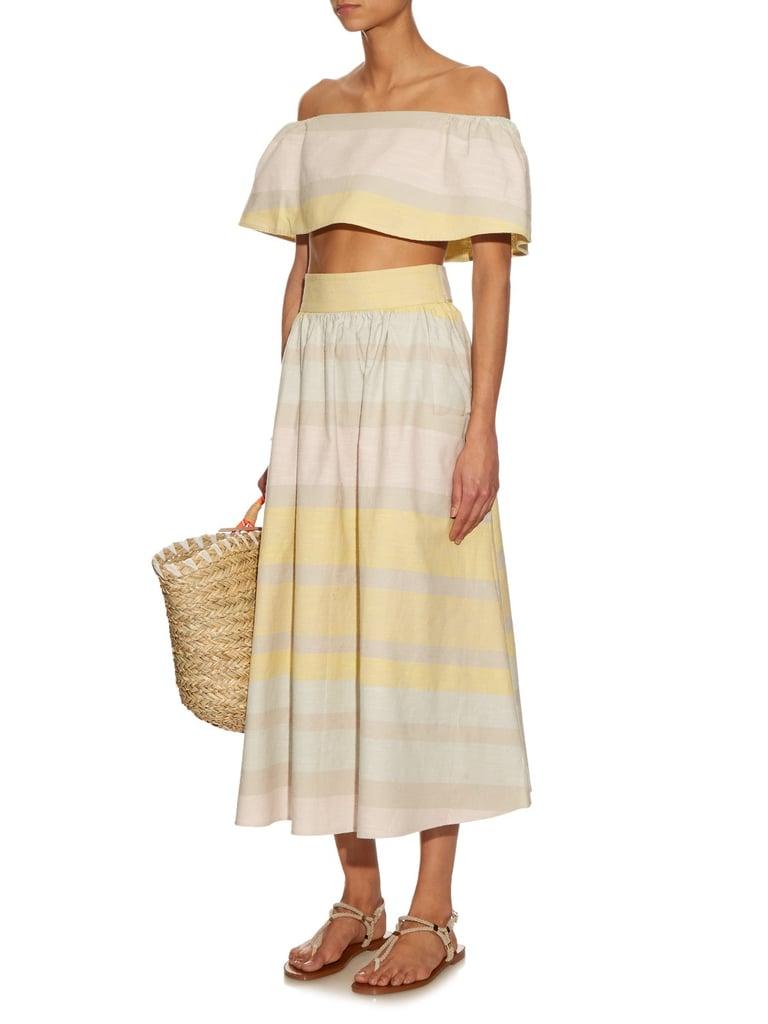 Mara Hoffman Striped Organic Crop Top ($167) and Skirt ($278)