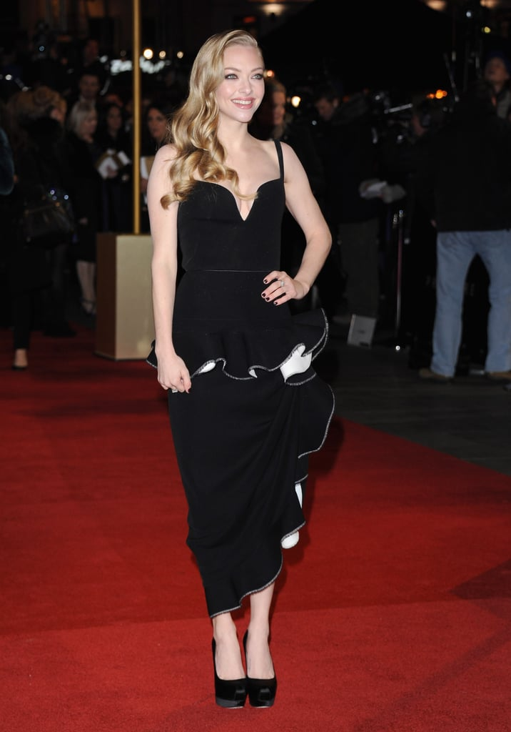 Amanda Seyfried wore a Balenciaga dress at the London premiere.