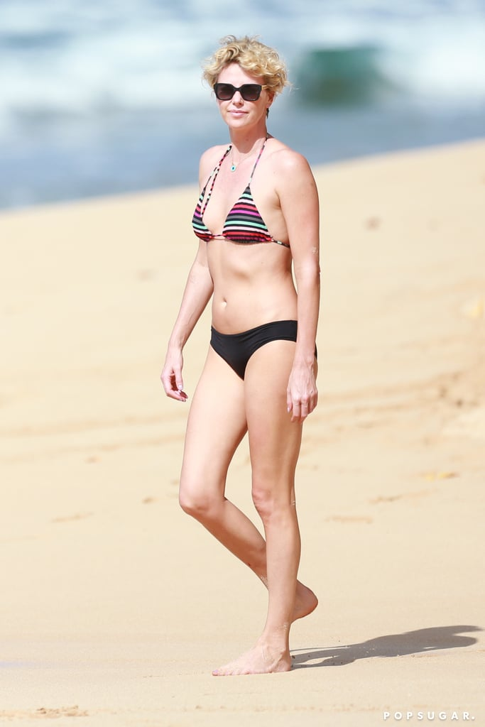 Charlize steamed up the beach during a Hawaiian getaway in December 2013.