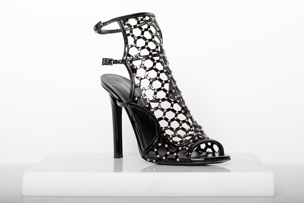 Submission Patent Sandal Bootie With Studs in Black ($995) Photo courtesy of Tamara Mellon