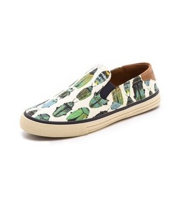 We always knew there was a tomboy side to Tory Burch. The designer did an easy, breezy sneaker ($125) in a beetle print straight from biology class.
