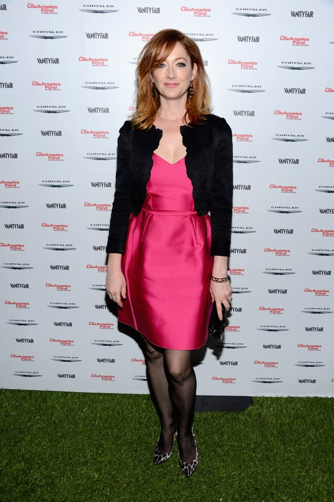 Judy Greer went pink for the Les Misérables celebration.