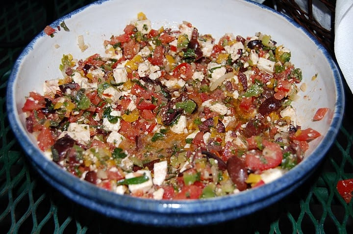 Greek salsa was a colorful and delicious dip.