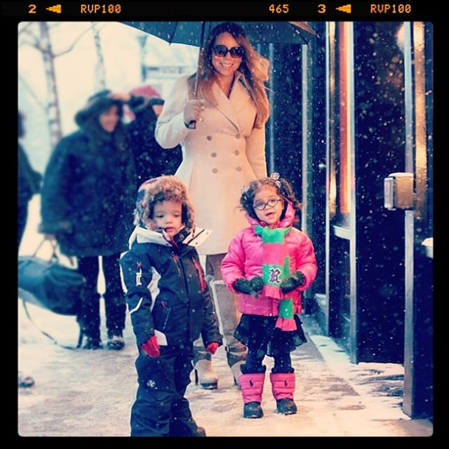 Mariah Carey and her little ones made an adorable arrival in Aspen. Source: Instagram user mariahcarey