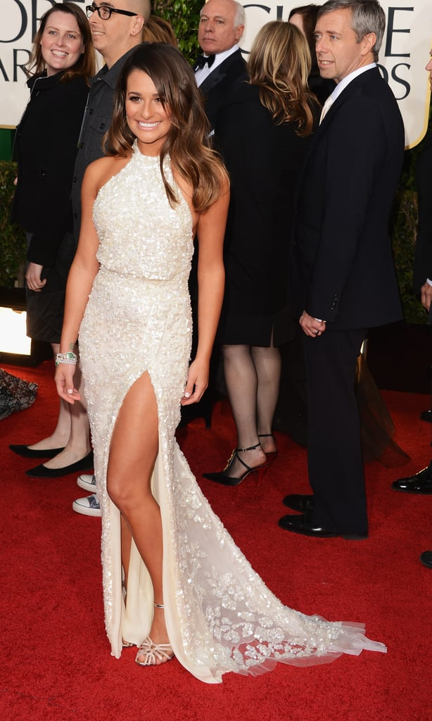 Lea Michele turned to her go-to designer for the red carpet, Elie Saab, for this leg-baring gown.