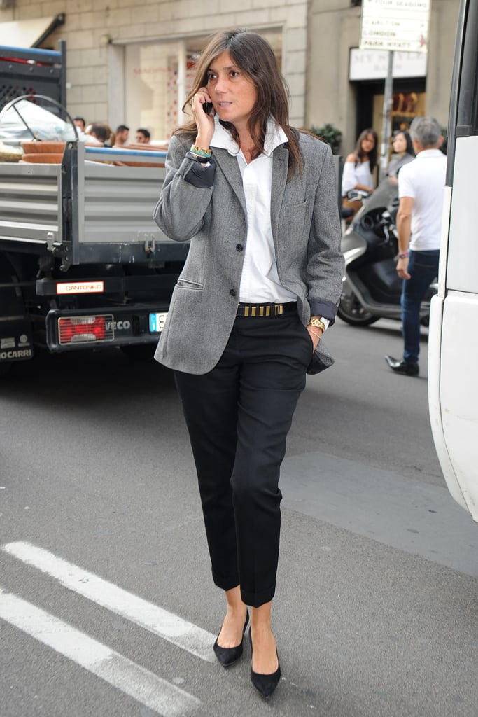 Emmanuelle Alt strikes the perfect monochromatic balance in chic tailored separates en route to Blumarine.
