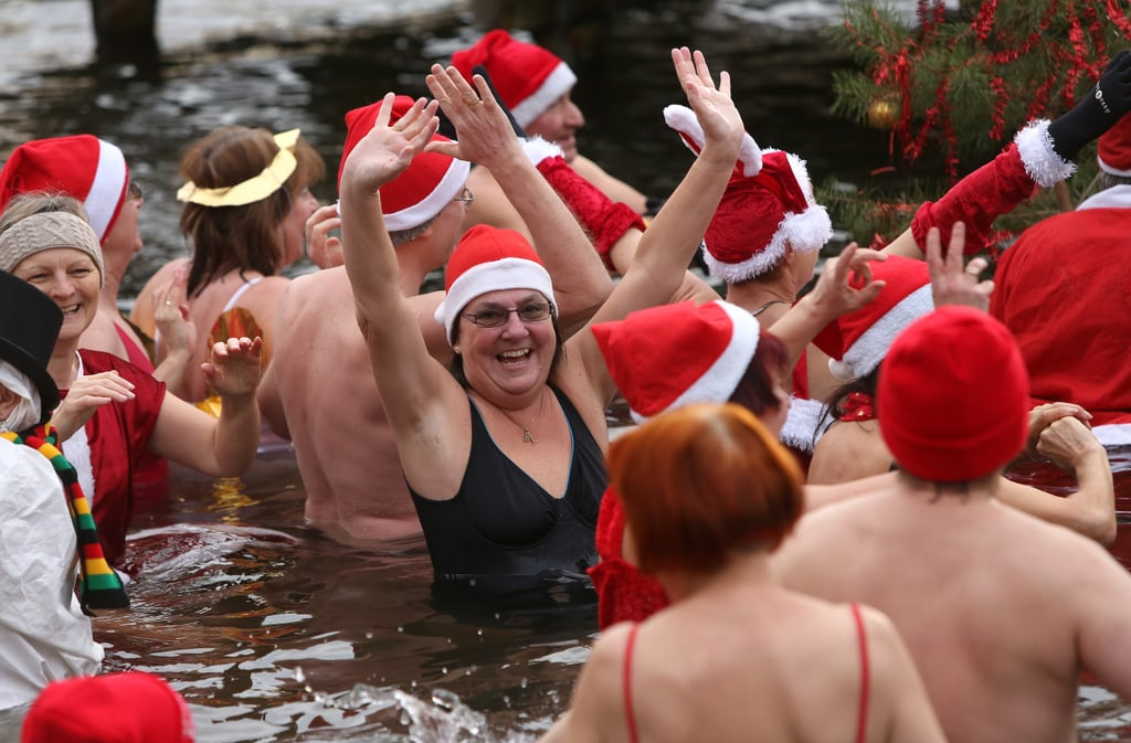 Ice swimmers waded in the Obersee in Lanke, about 31 miles north of Berlin, Germany.