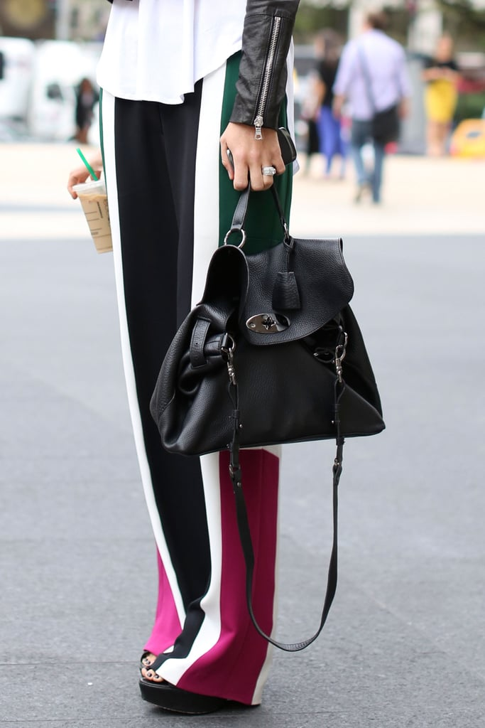 A slouchy Mulberry bag was perfection alongside Joanna Hillman's colorblocked pants.