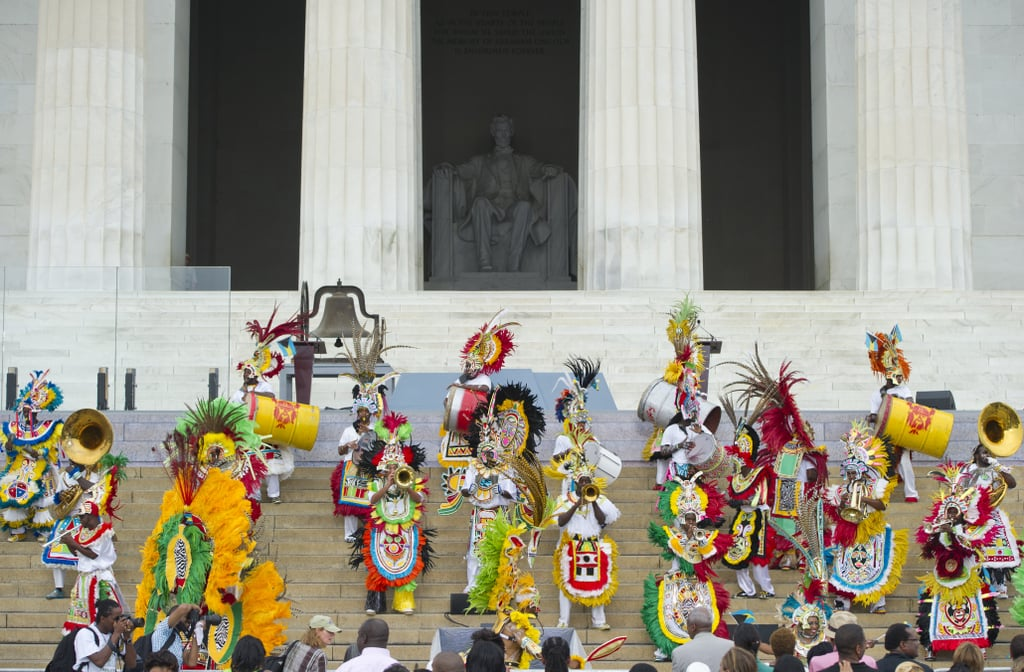 Performers from the Bahamas danced on the steps of the Lincoln Memorial.