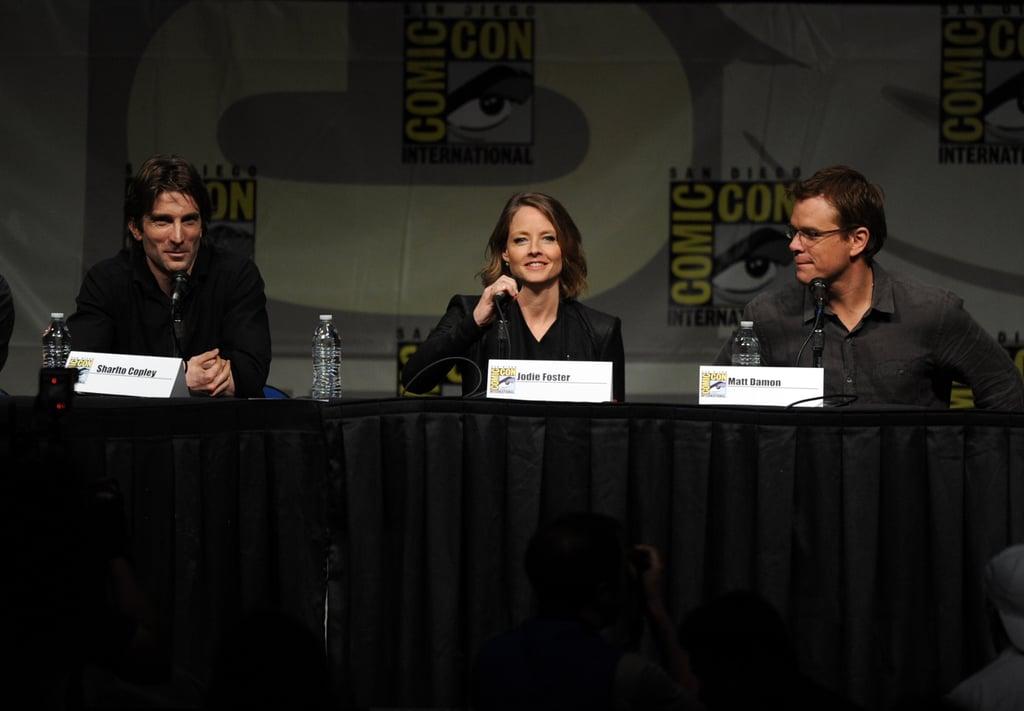 Sharto Copley, Jodie Foster, and Matt Damon were at a panel.