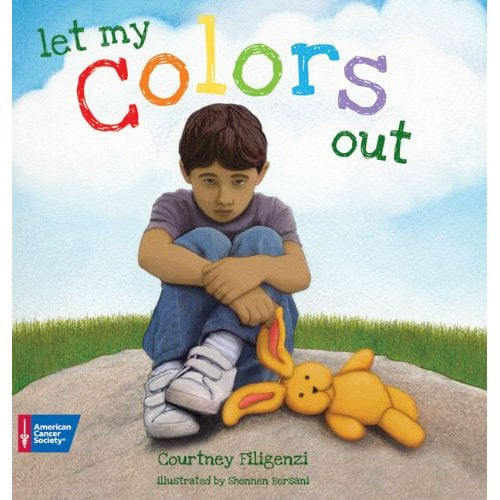 """Let My Colors Out  deals with an issue that affects a lot of kids: a parent diagnosed with cancer. Emotions are represented by colors, scared (purple), sad and alone (blue), jealous of kids who aren't dealing with cancer in the family (green), pretending everything is OK and normal again (orange), angry (red), and happy despite all that is going on (yellow). The key message is that it's OK to feel whatever you're feeling, and the importance of letting those """"colors"""" out."""