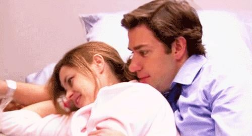 They name their daughter Cece, and after she's born, Jim cuddles up to Pam to celebrate the moment.