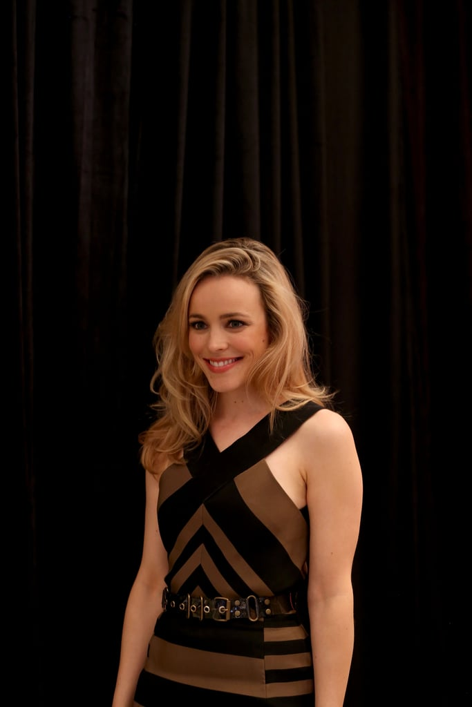 Rachel McAdams wore a black and tan Lanvin dress.