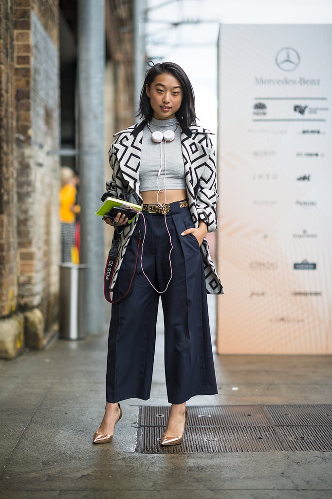 Trousers took on a street-cool feel with a crop top and headphones. Source: Le 21ème | Adam Katz Sinding
