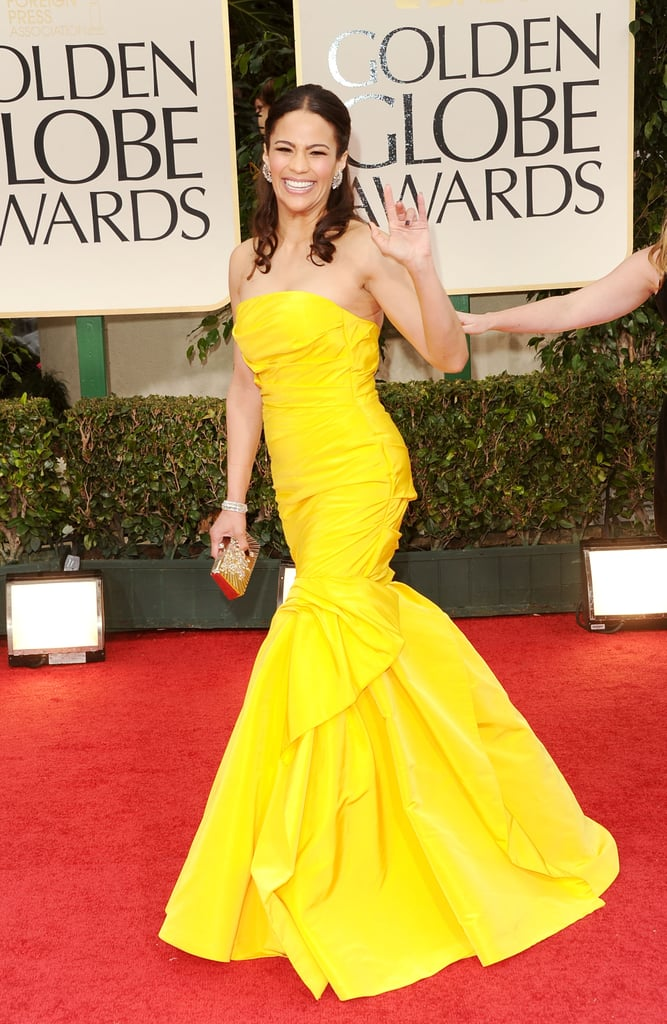 Paula Patton's yellow dress at the Golden Globes.
