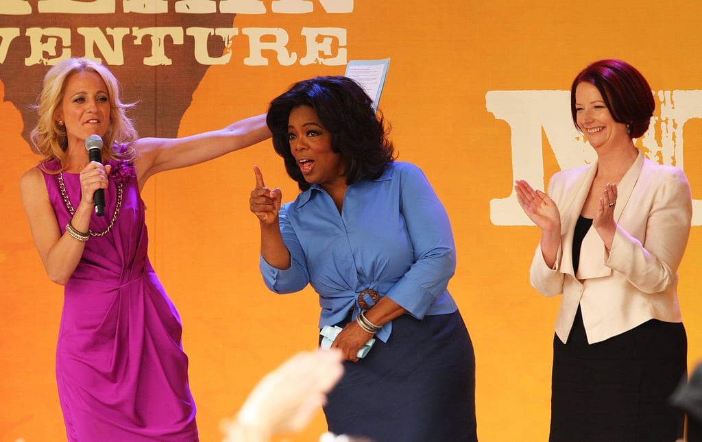 With the Australian prime minister on hand, Oprah engaged with a crowd in Melbourne in 2010.