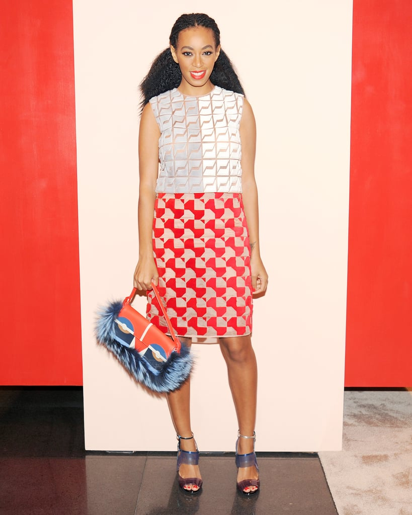At Vogue's Fendi Buggies bash, Solange Knowles wore the label's bright illusion shift, which was bolstered by undeniably chic accessories, including translucent sandals.