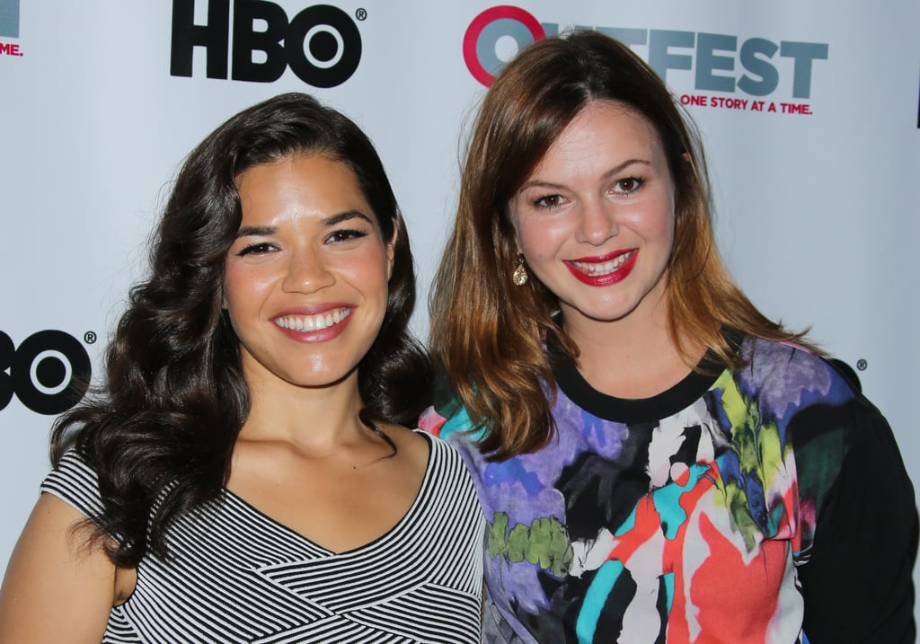The Sisterhood of the Traveling Pants costars America Ferrera and Amber Tamblyn linked up at the X/Y screening in LA on Friday.