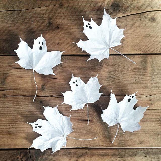 Ghost leaves 13 scary cute halloween diys from instagram popsugar smart living - Diy halloween ghost decorations ...