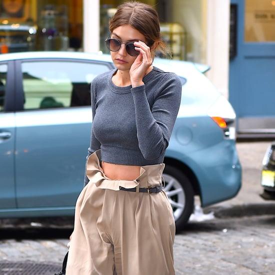 Gigi Hadid in High-Waisted Trousers
