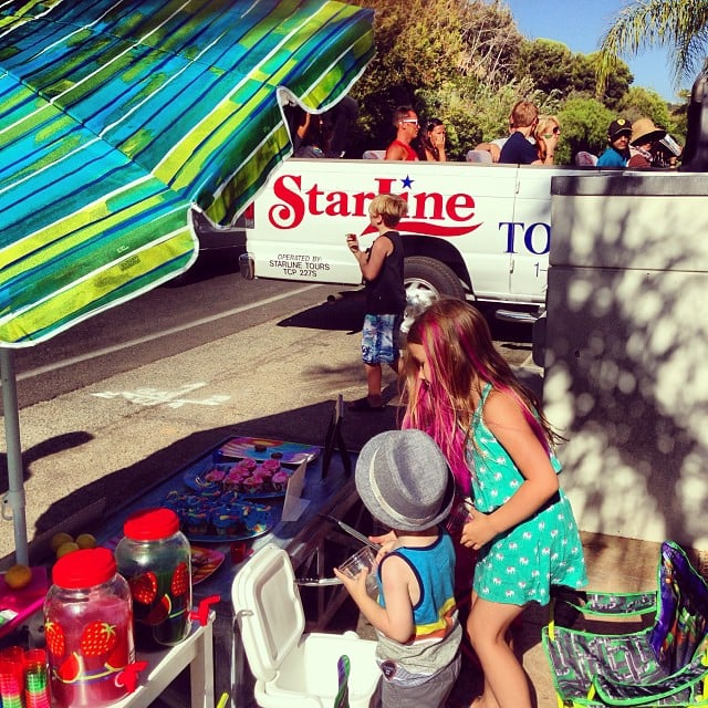 Liam, Stella, and Finn McDermott fed a tour bus of star-seekers some cookies and lemonade.
