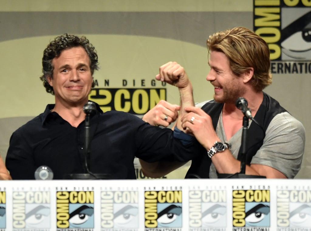 Mark Ruffalo and Chris Hemsworth cracked jokes at the Marvel panel on Saturday.