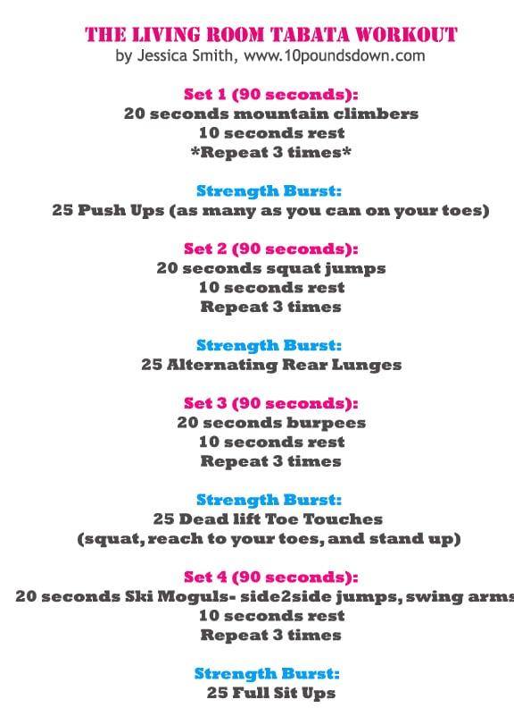 At home tabata workout popsugar fitness for Living room workout