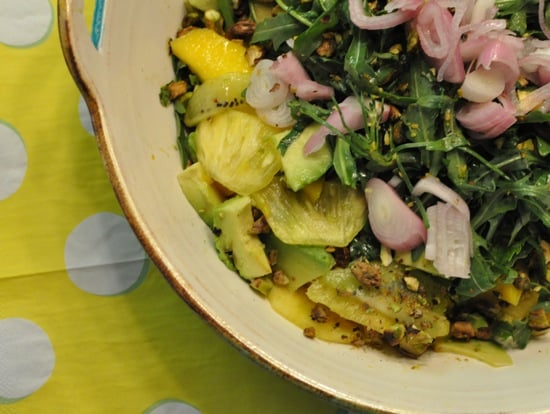 Tropical Fruit Salad With Arugula and Shallots