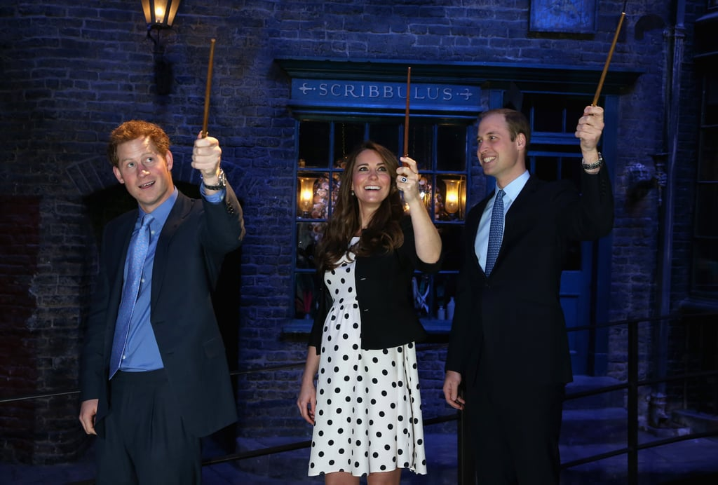 Pregnant Kate Middleton and Prince William got goofy with Prince Harry in London's Harry Potter film studio in April 2013.