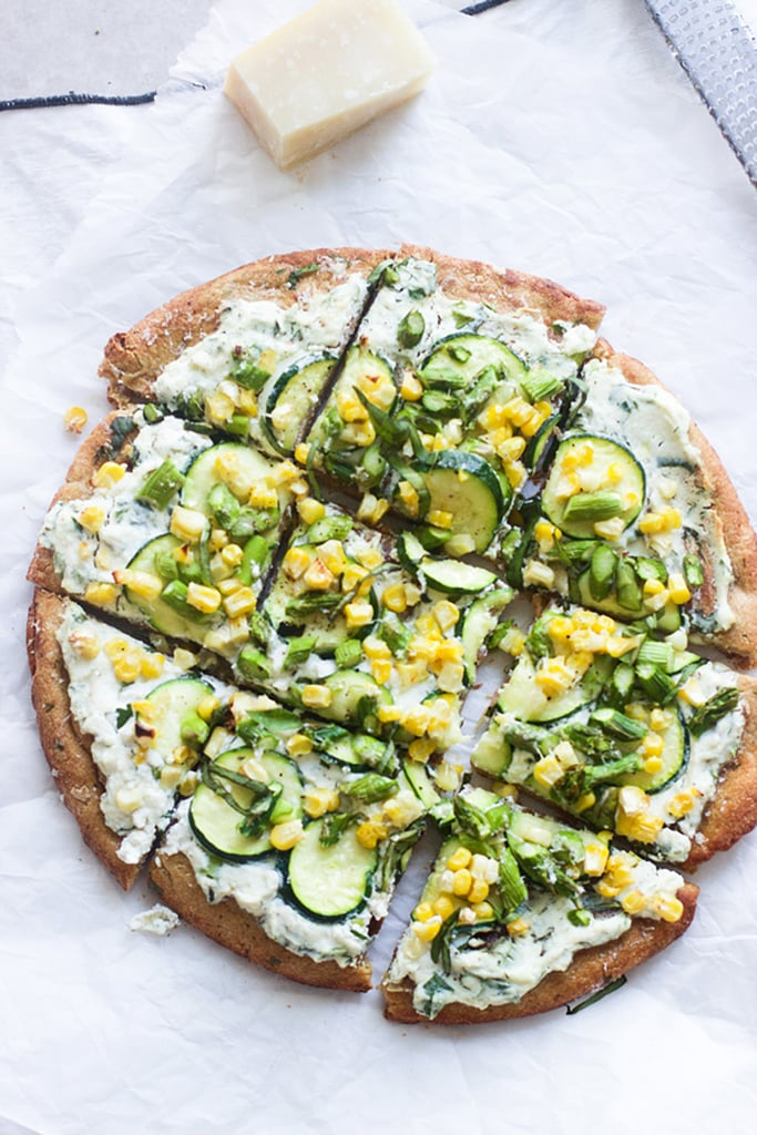 Flatbread With Herbed Ricotta, Zucchini, Asparagus, and Corn