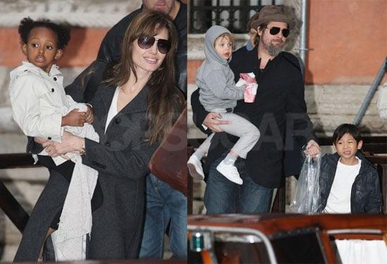 Photos of Shiloh, Zahara and Pax Jolie-Pitt with Angelina Jolie and Brad Pitt in Paris