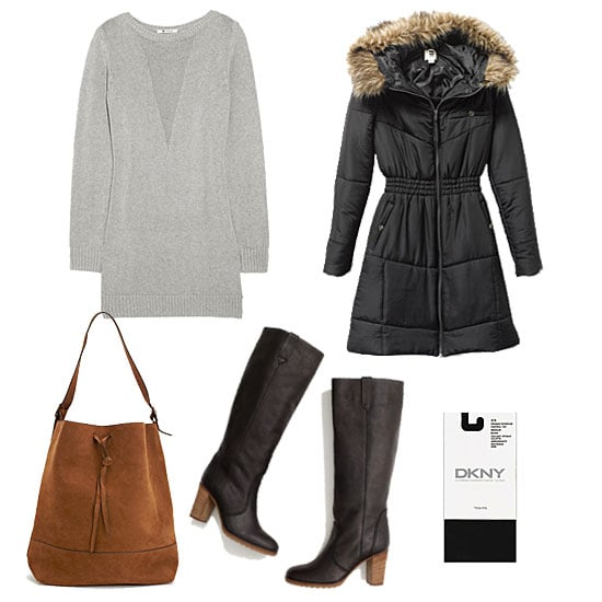 When temperatures drop, don't fear the puffer. With your staple sweater dress, tights, and classic knee-high boots, a fur-trimmed puffer coat adds warmth in the most convenient, easy-to-wear shape. Throw on a suede-finished tote for a downtown feel that could take you from work to weekend. Get the look:  Quiksilver QSW Left Bank Puffy Coat ($83, originally $164) T by Alexander Wang Silk-Blend Sweater Dress ($115, originally $280) Madewell Watchtower Boots ($260, originally $325) DKNY Opaque Control Top Tights ($20) Nasty Gal Dunes Bucket Bag ($58)