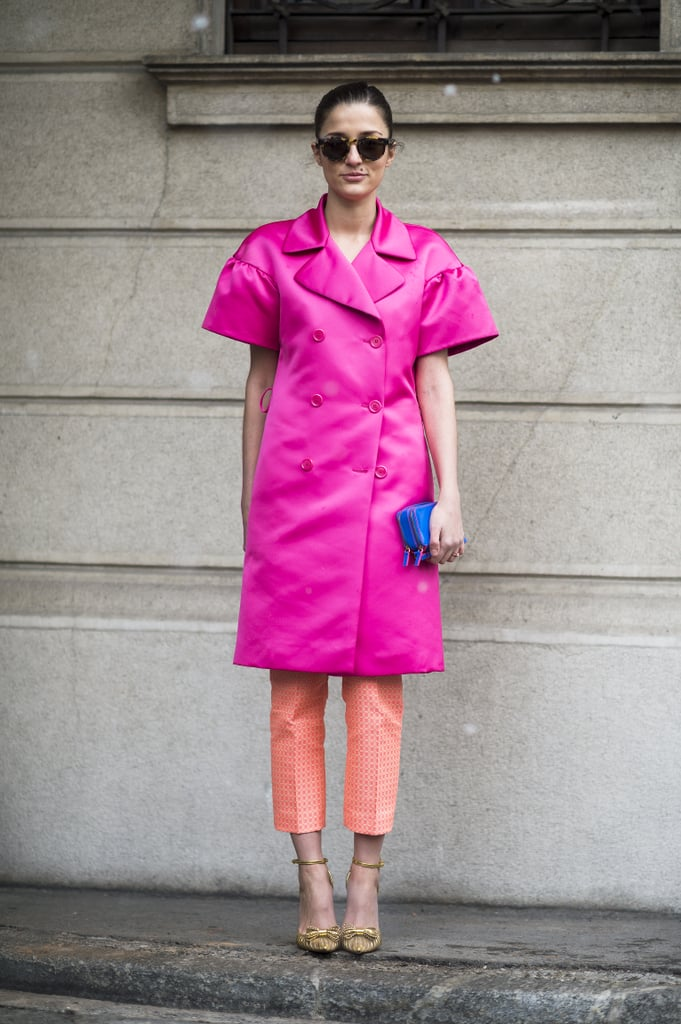 The brightest outerwear and equally bright pants were well-suited for turning heads at the shows. Source: Le 21ème | Adam Katz Sinding