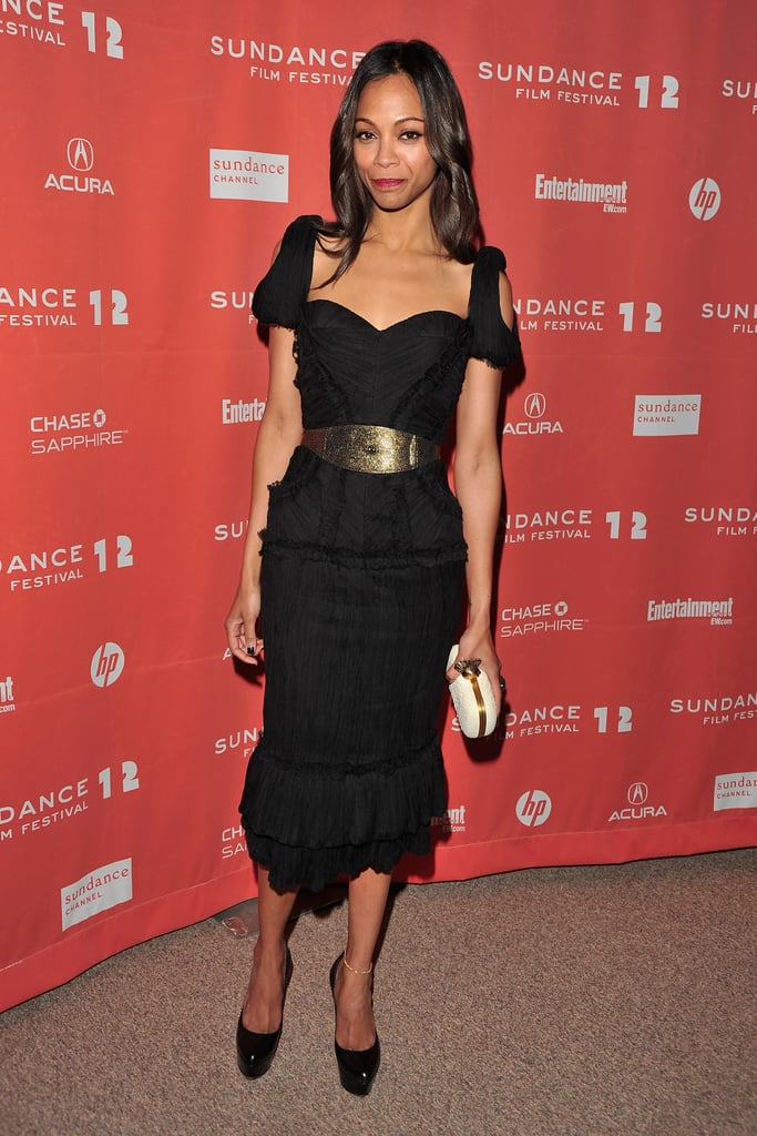 She chose a cool black shoulder-cutout Alexander McQueen dress for The Words' 2012 Sundance premiere.