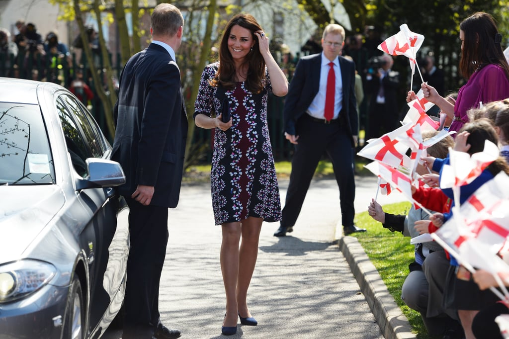 On April 23, 2013, Kate was all smiles when she dropped by the Willows Primary School in Manchester, England, in a patterned Erdem dress.
