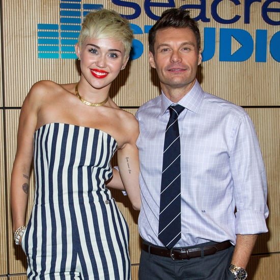 Miley Cyrus In Stripes With Mum, Sister And Ryan Seacrest