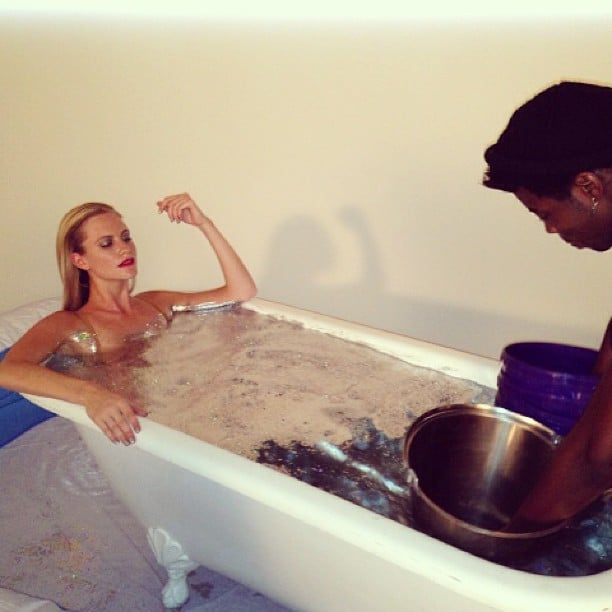 Behind the scenes! Getting a glimpse of the gritty side of glamour, as Poppy Delevingne sank into a glitter bath for a shoot. Source: Instagram user poppydelevingne