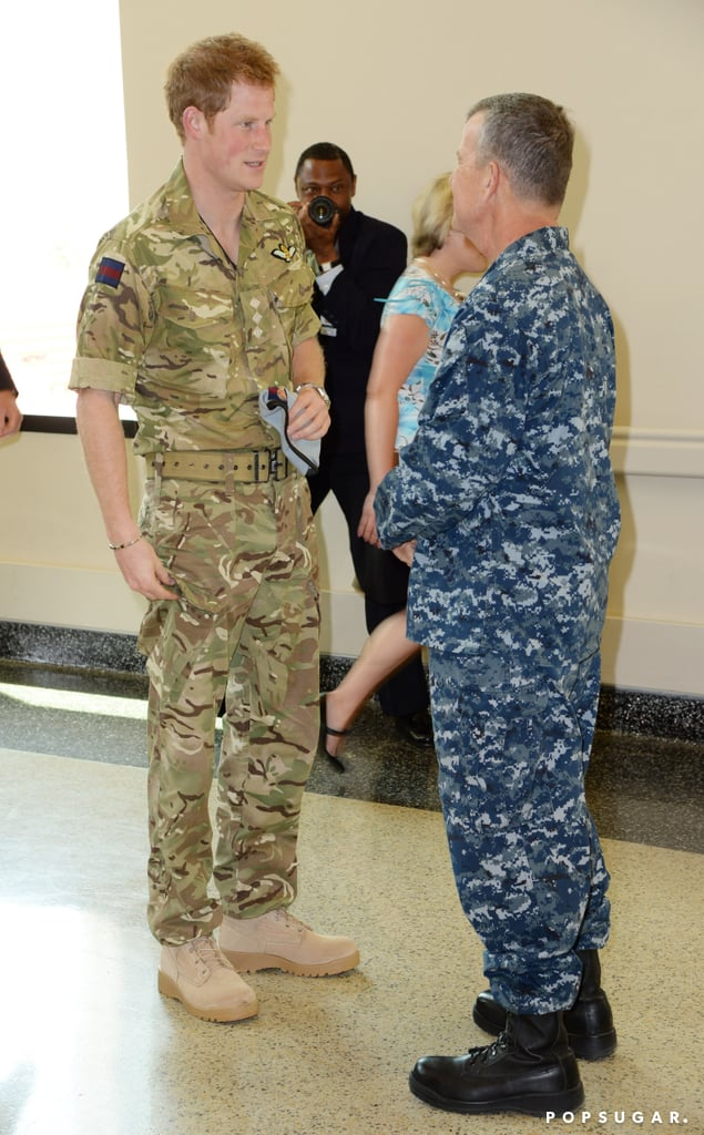 Prince Harry wore fatigues to the hospital.
