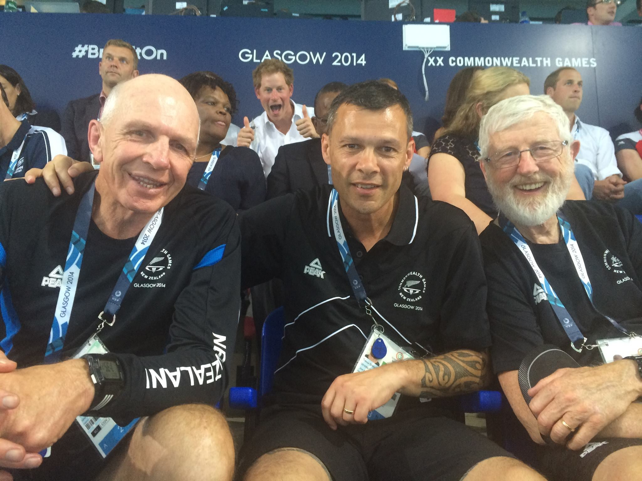 Prince Harry snuck up on boxer Trevor Shailer (center), rugby star Gordon Tietjens, and a friend when they tried to take a snap of themselves at the Commonwealth Games. Source: Facebook user Trevor Shailer