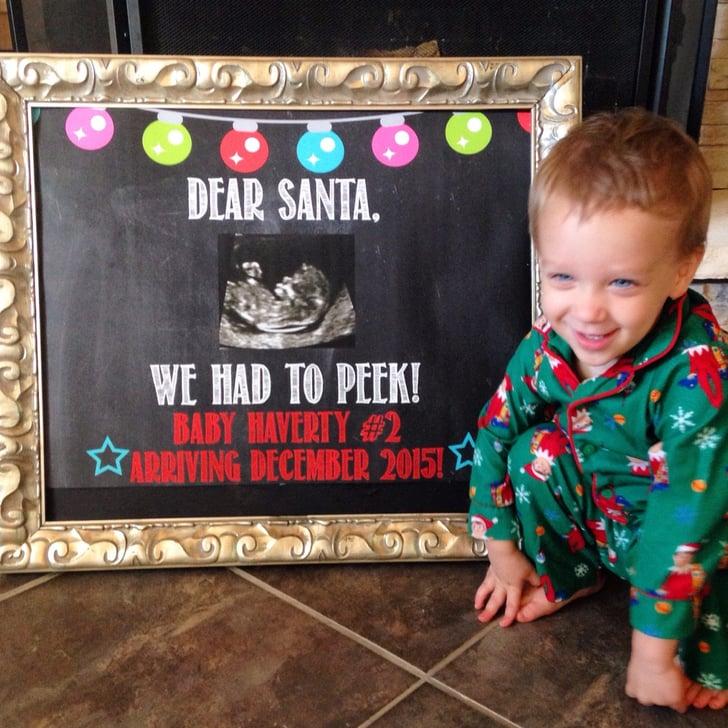 Dear Santa Peek Photo Prop The Cutest Holiday Pregnancy Announcement Ideas .