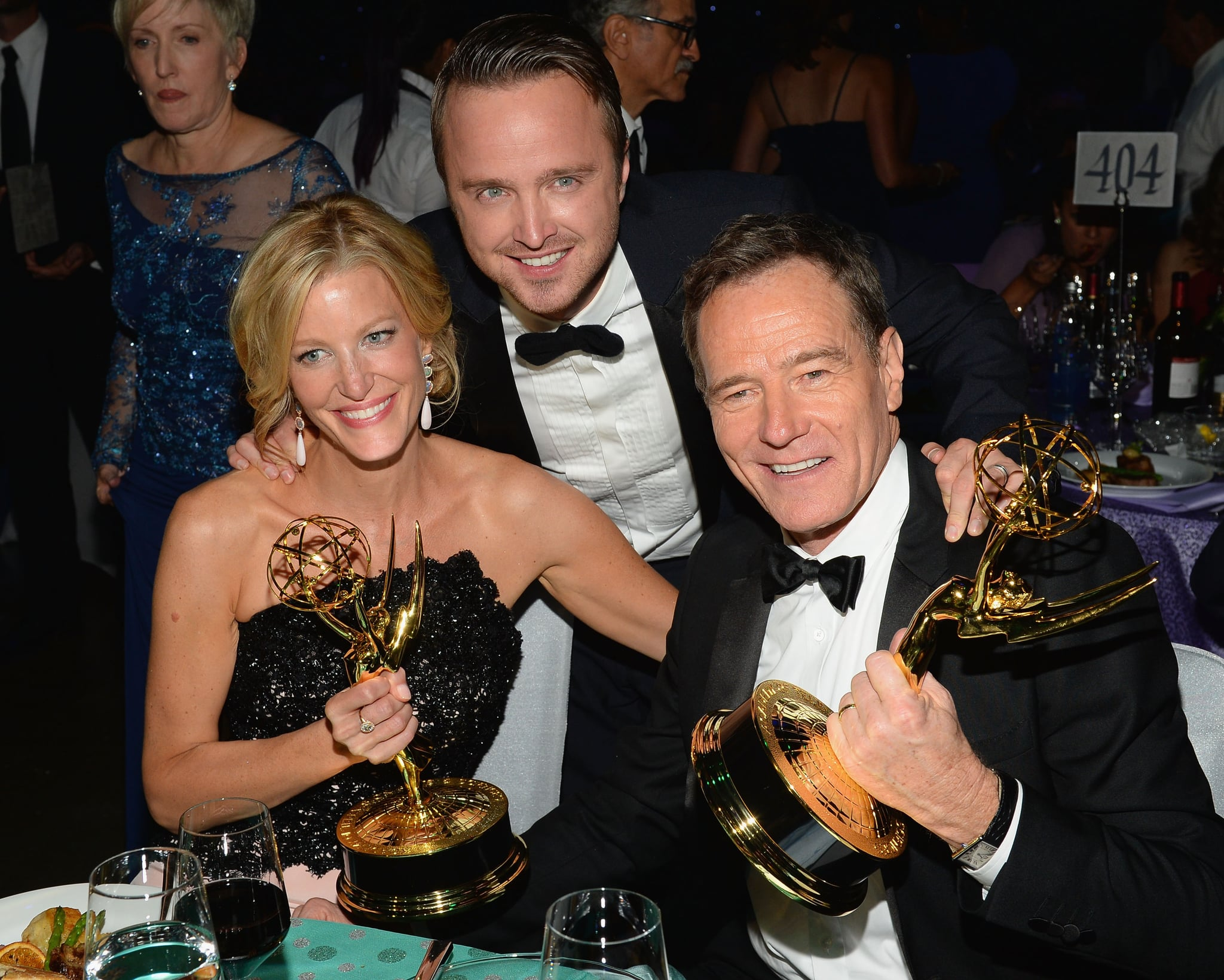 Anna Gunn, Aaron Paul, and Bryan Cranston posed with their awards at the 2013 Emmys Governors Ball.