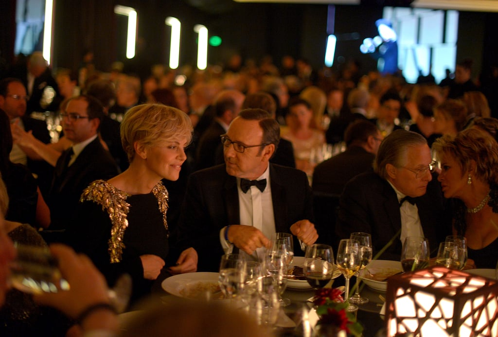 Charlize Theron and Kevin Spacey chatted over dinner.