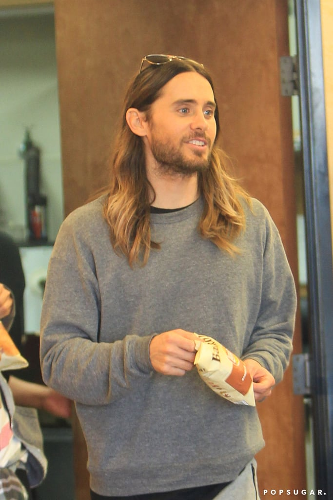 "Jared Leto may have partied until ""the break of dawn"" on Sunday after his big best supporting actor Oscar win for Dallas Buyers Club, but he was fresh-faced on Monday when he stepped out for a snack at Subway."