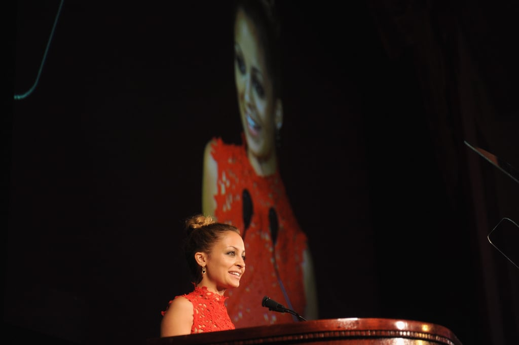 Nicole Richie addressed the audience on stage.