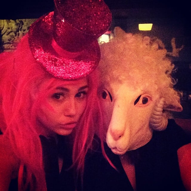 Miley Cyrus and her mom had fun with masks, wigs, and hats. Source: Instagram user mileycyrus